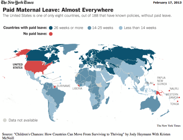 paid maternal leave map